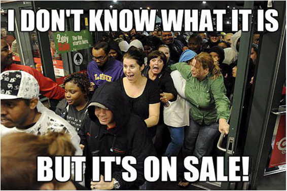 Crowds at a sale