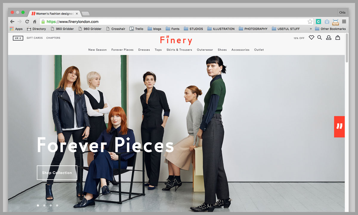 Finery homepage design