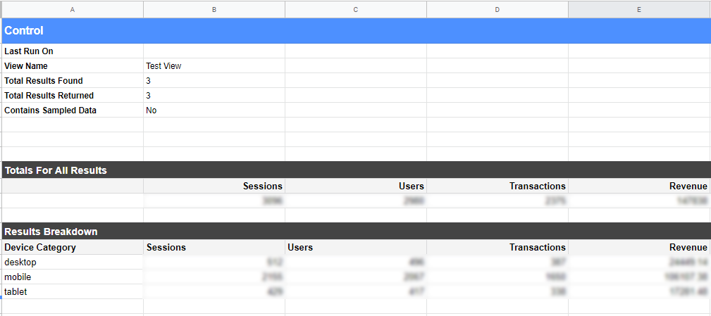 Creating testing data report in Google Sheets