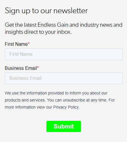 Email sign-up form on Endless Gain website