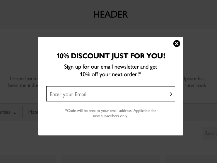 Generic pop-up with greyed background that user has to interact with