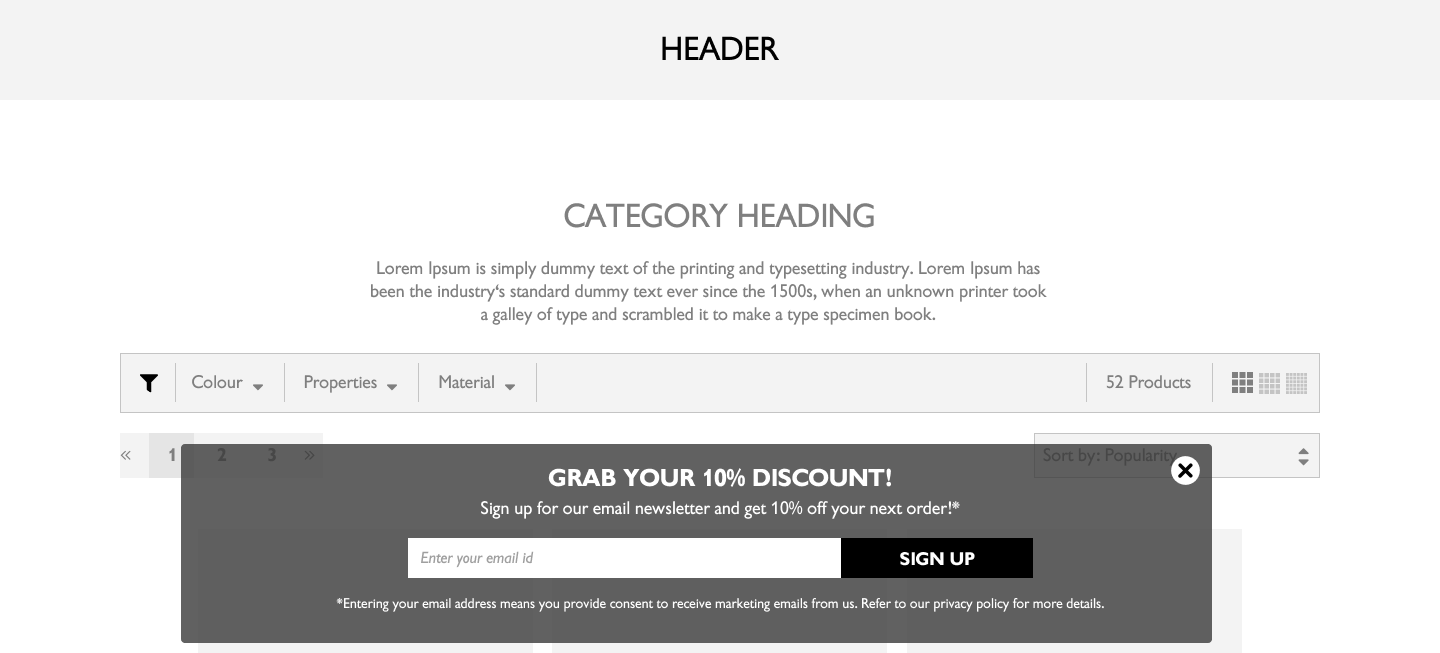 Minimal banner pop-up that allows users to continue browsing site
