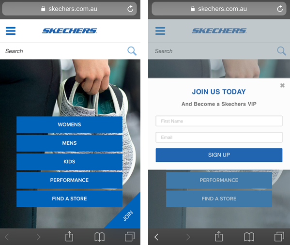 Email sign-up form on Skechers Australia mobile site
